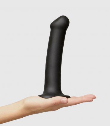 Dildo Dual Density Flexible con Ventosa Negro-Apto Arnés