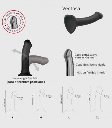 Dildo Dual Density Flexible con Ventosa Púrpura-Apto Arnés