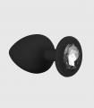 Plug Anal de Silicona Negro con Diamante